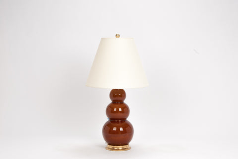Single Medium Three Ball Lamp in Amber