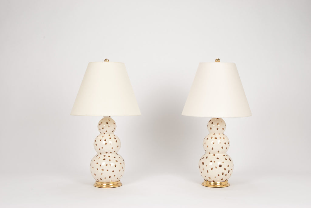 Pair of Medium Three Ball Lamps in Espresso Dots on White