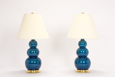 Pair of Medium Three Ball Lamps in Prussian Blue