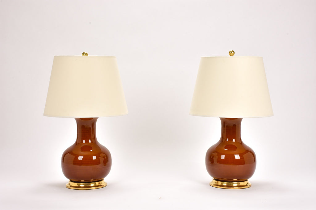 Pair of Medium William Lamps in Amber