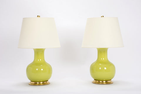 Pair of Medium William Lamps in Apple Green