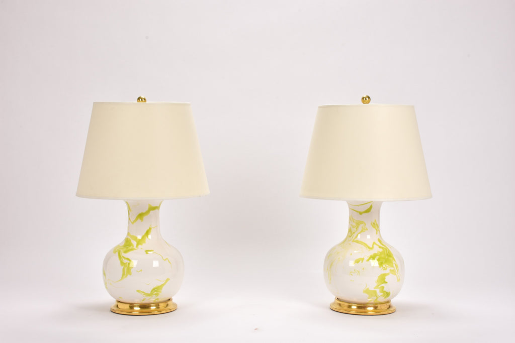 Pair of Medium William Lamps in Lime Green Marble