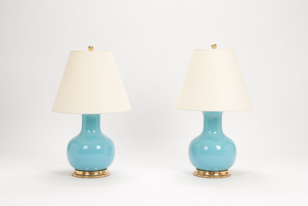 Pair of Medium William Lamps in Robin's Egg