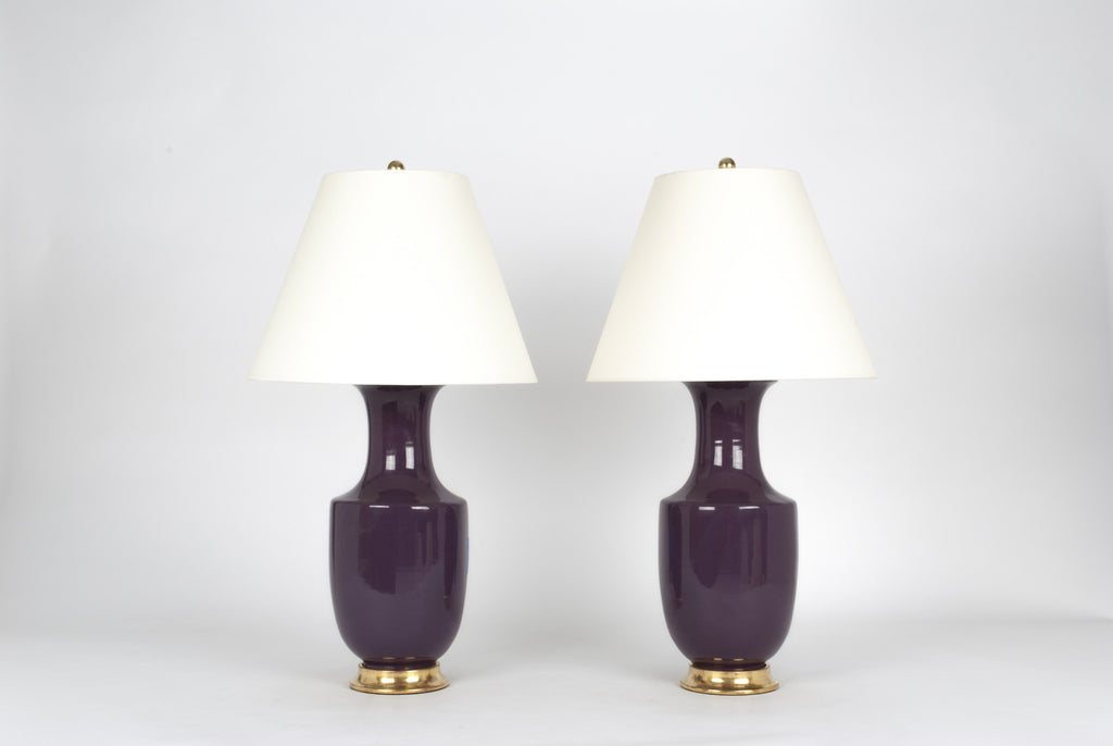 Pair of Ming Lamps in Aubergine