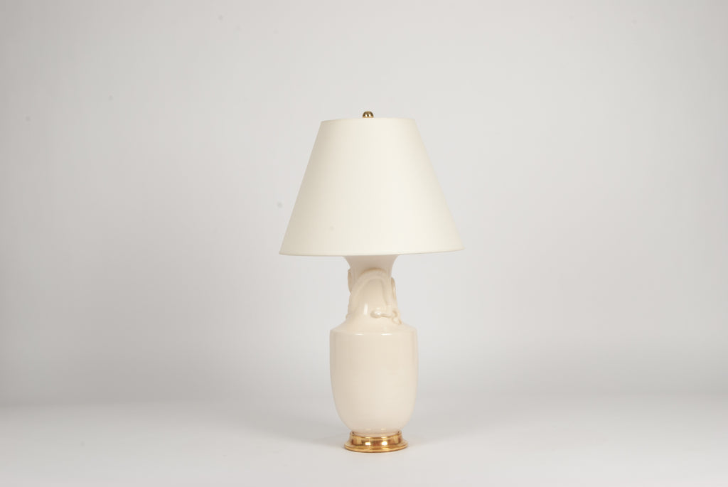 Single Ming Dragon Lamp in Blanc de Chine