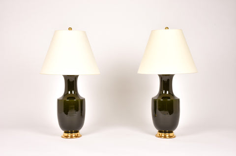 Pair of Ming Lamps in Olive