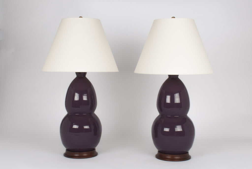 Pair of Modern Double Gourd Lamps in Aubergine