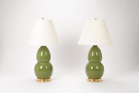 Pair of Modern Double Gourd Lamps in Avocado