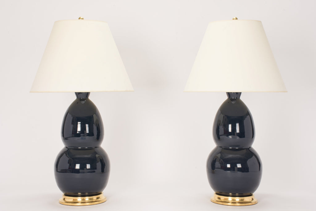 Pair of Modern Double Gourd Lamps in Navy