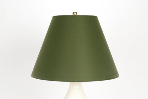 lampshade in moss green paper vellum