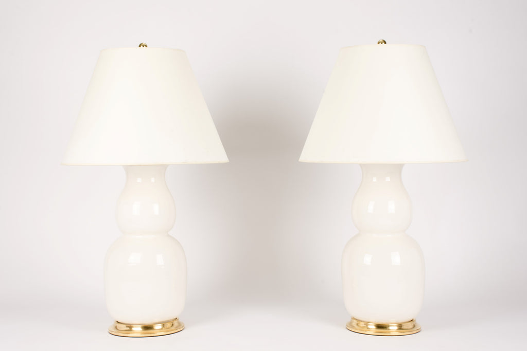 Pair of Nicholas Lamps in Clear Crackle