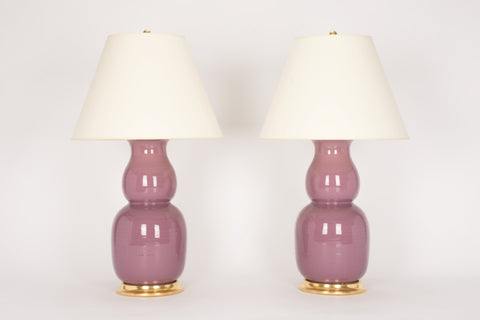 Pair of Nicholas Lamps in Custom Aubergine