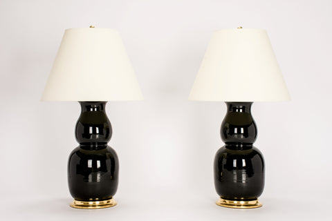 Pair of Nicholas Lamps in Jet Black