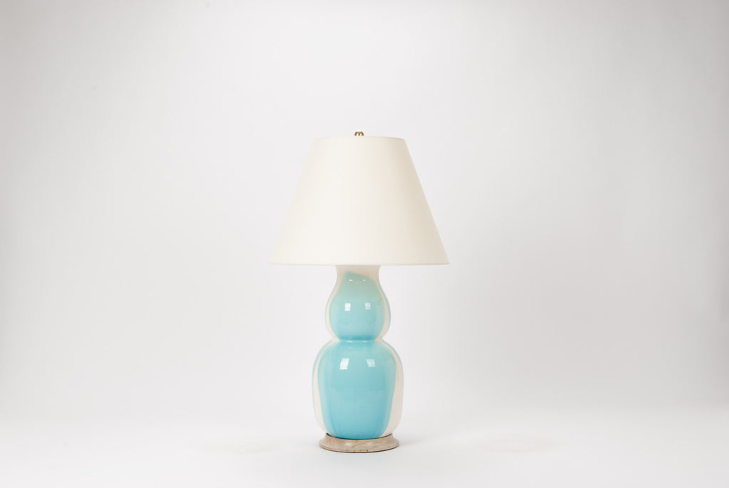 Single Nicholas Lamp in Light Blue Crackle Drip