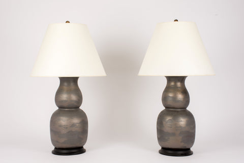 Pair of Nicholas Lamps in Matte Bronze