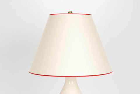 Lampshade in Off-White Paper Vellum with Red Trim 9/18/13