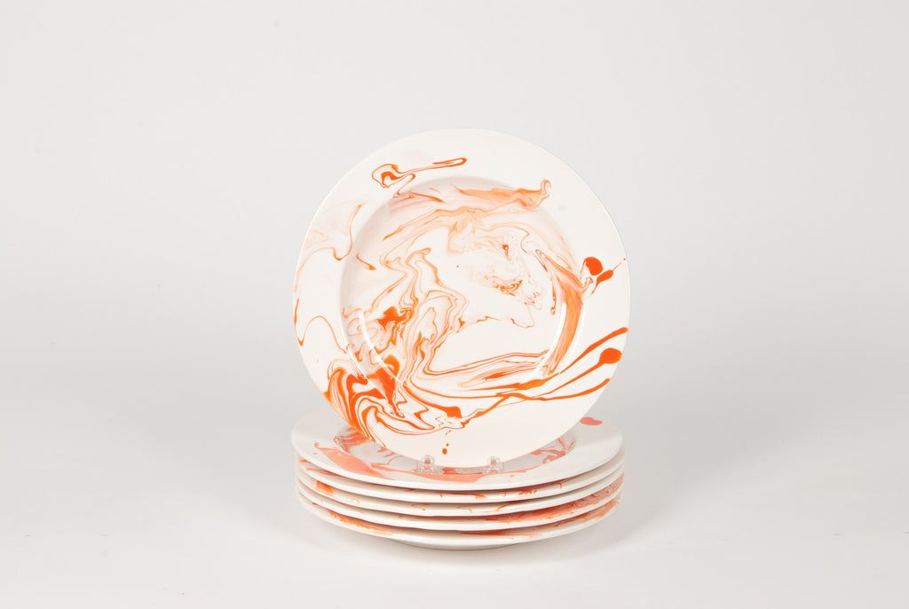 Set of Orange and White Hand-Marbled Plates