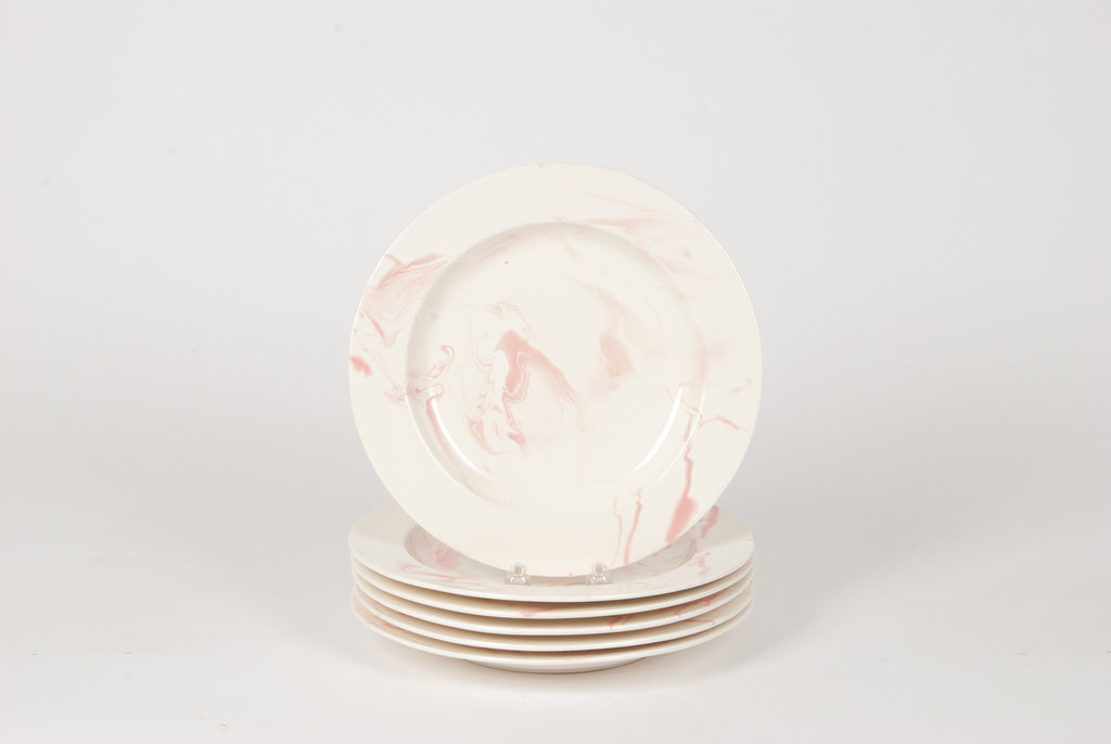 Set of Pink and White Hand-Marbled Plates
