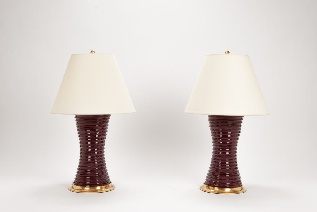 Pair of Ribbed Hourglass Lamps in Claret