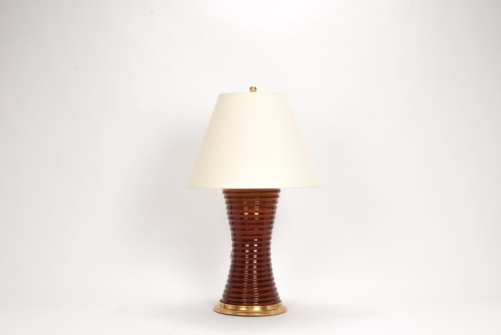 Single Ribbed Hourglass Lamp in Amber