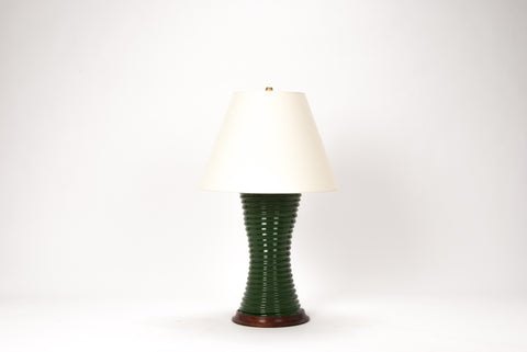 Single Ribbed Hourglass Lamp in Dark Green