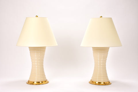 Pair of Ribbed Hourglass Lamps in Tea Stain Crackle