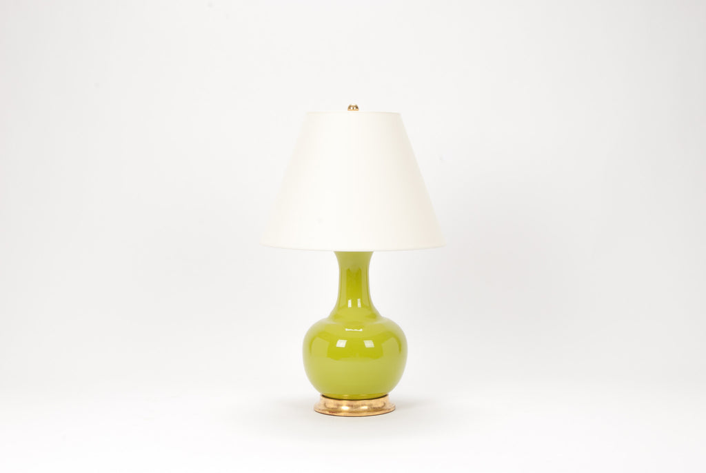 Single Ridged Single Gourd Lamp in Chartreuse