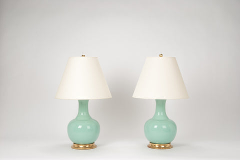 Pair of Ridged Single Gourd Lamps in Pale Blue Green