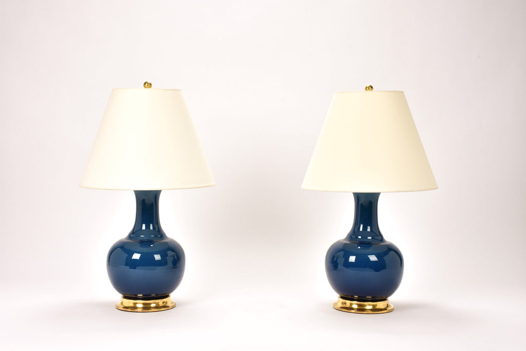 Pair of Ridged Single Gourd Lamps in Prussian Blue