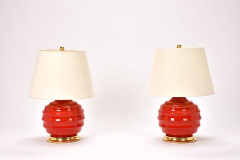 Pair of Wide Ribbed Ball Lamps in Red