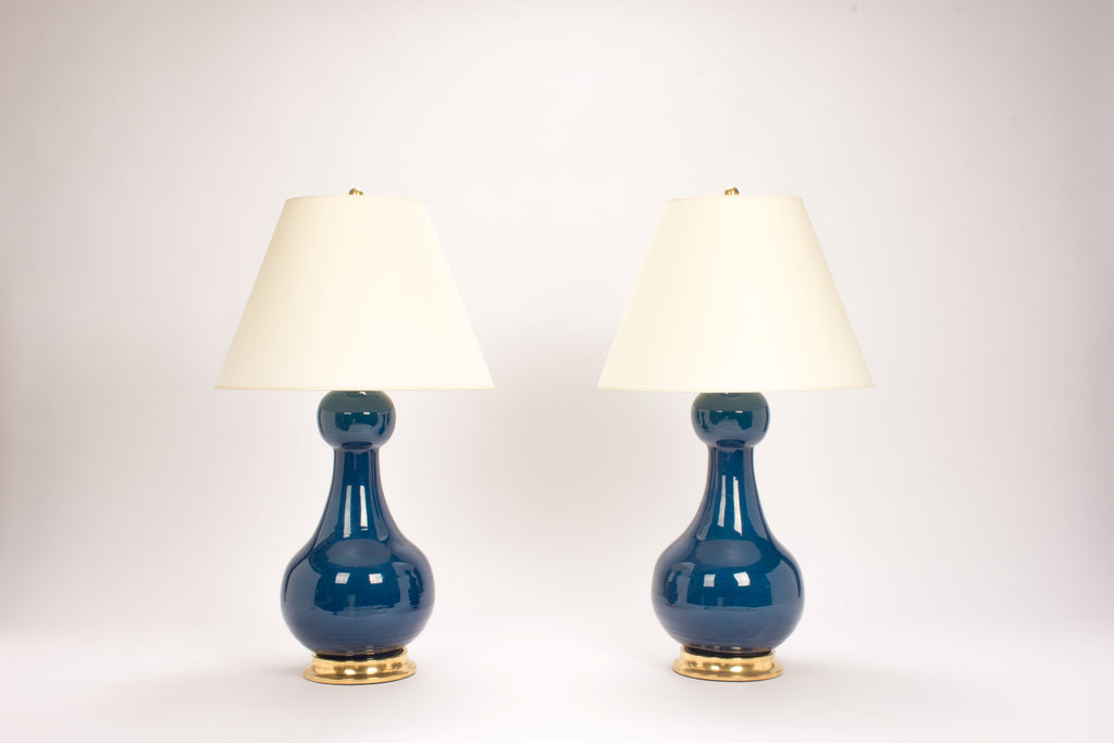Pair of Sam Lamps in Prussian Blue