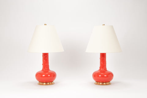 Pair of Serpentine Dragon Lamps in Coral