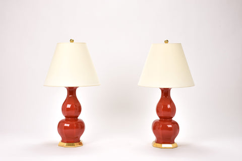 Pair of Small Alexander Lamps in Raspberry