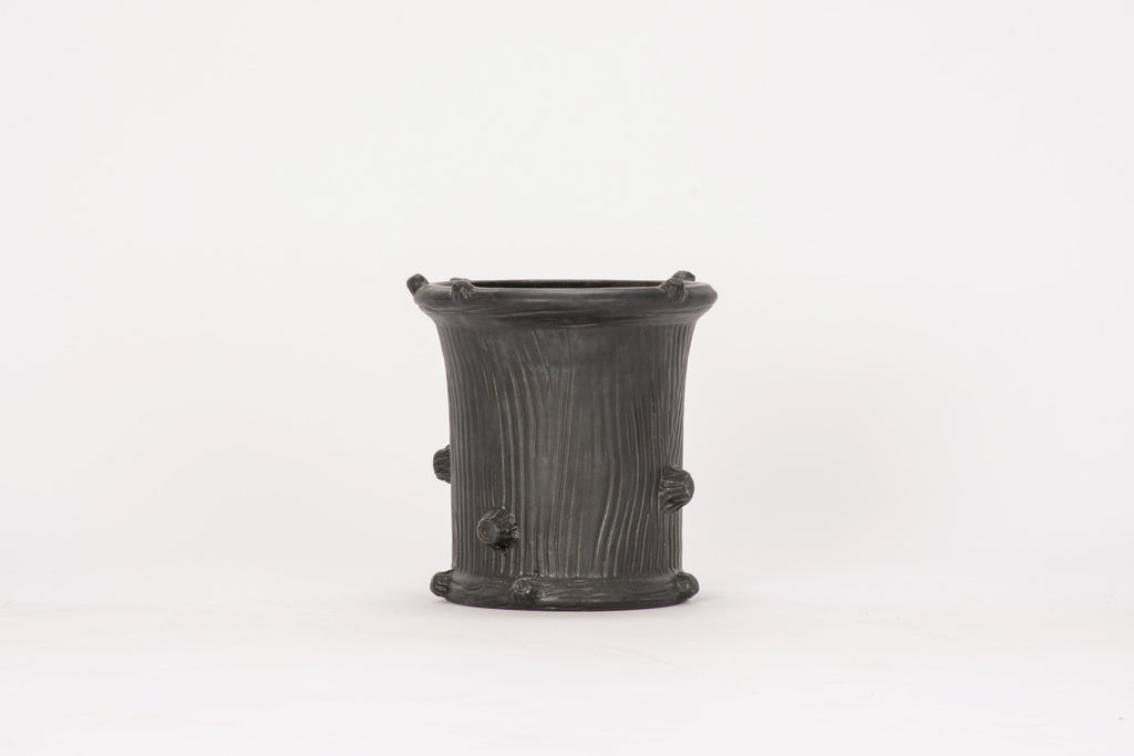 Small Faux Bois Cache Pot in Matte Black