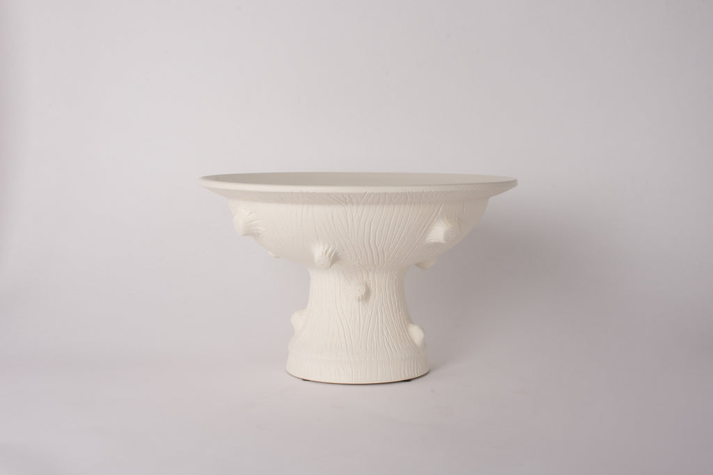 Medium HT Faux Bois Pedestal Bowl in Matte White