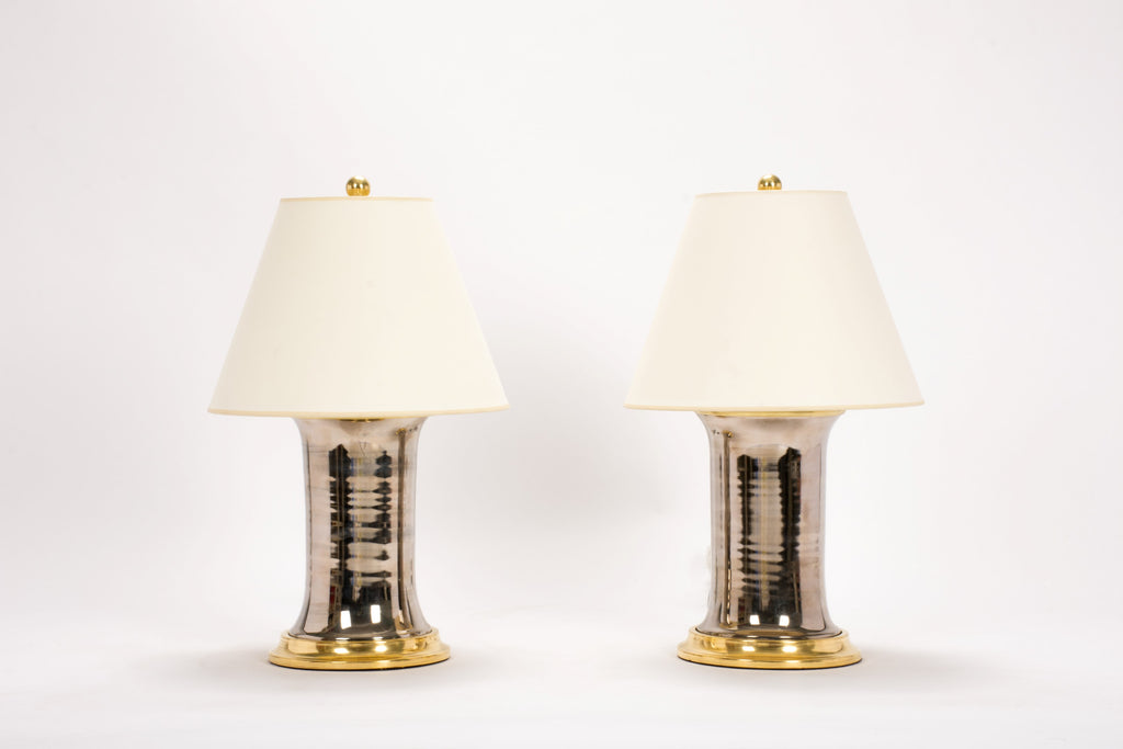 Pair of Small Patricia Lamps in Platinum Luster