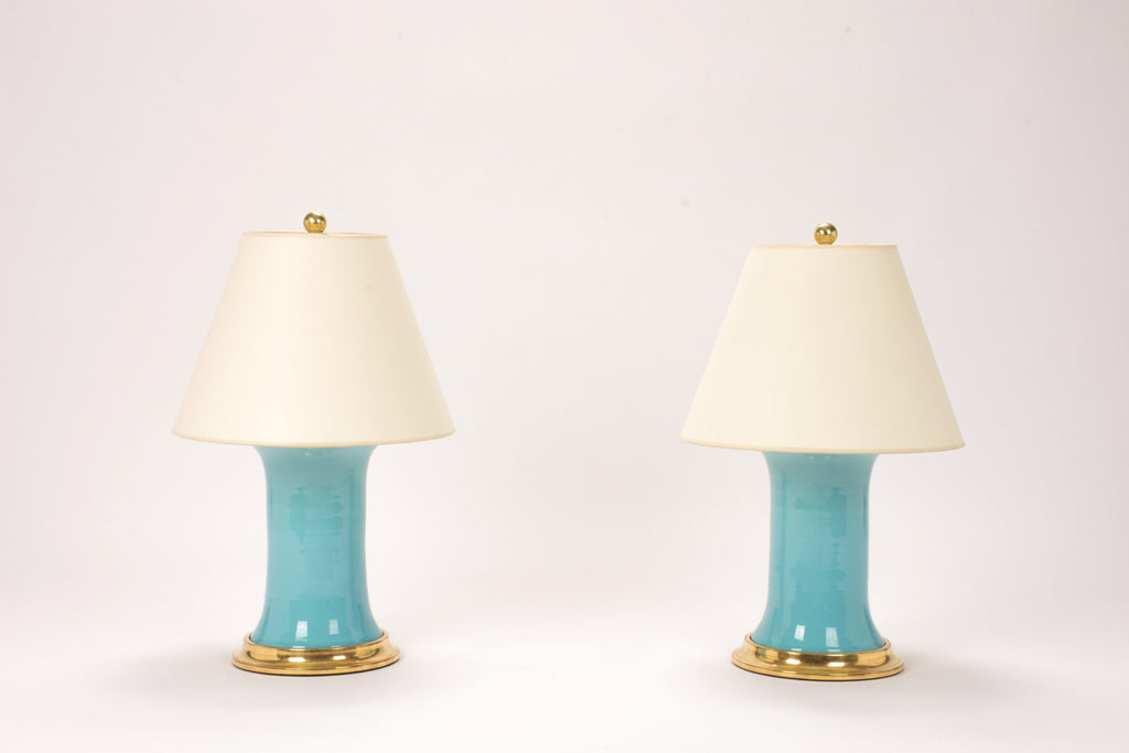 Pair of Small Patricia Lamps in Robin's Egg