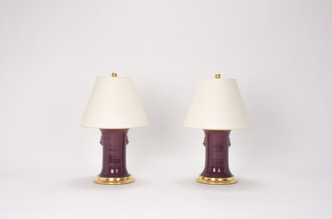 Pair of Small Patricia with Lions Lamps in Aubergine