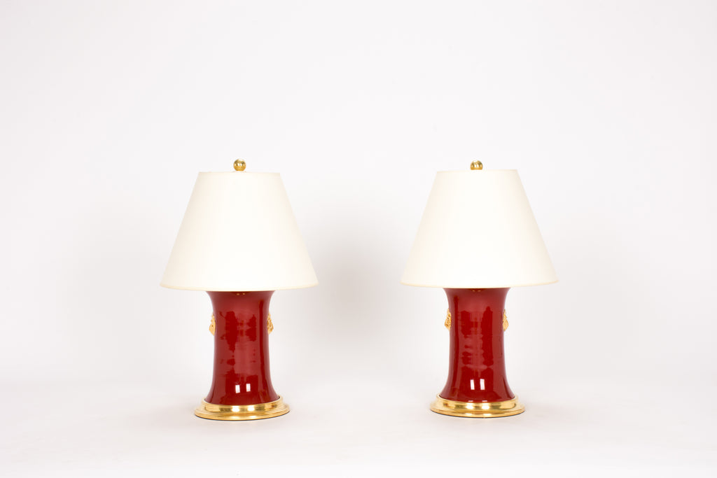 Pair of Small Patricia with Lions Lamps in Scarlet and Gold Luster