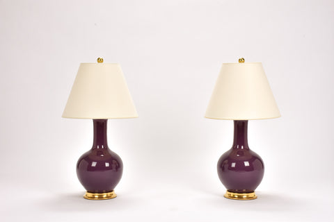 Pair of Small Single Gourd Lamps in Aubergine