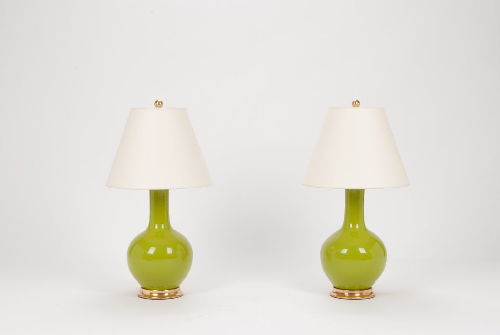 Pair of Small Single Gourd Lamps in Chartreuse