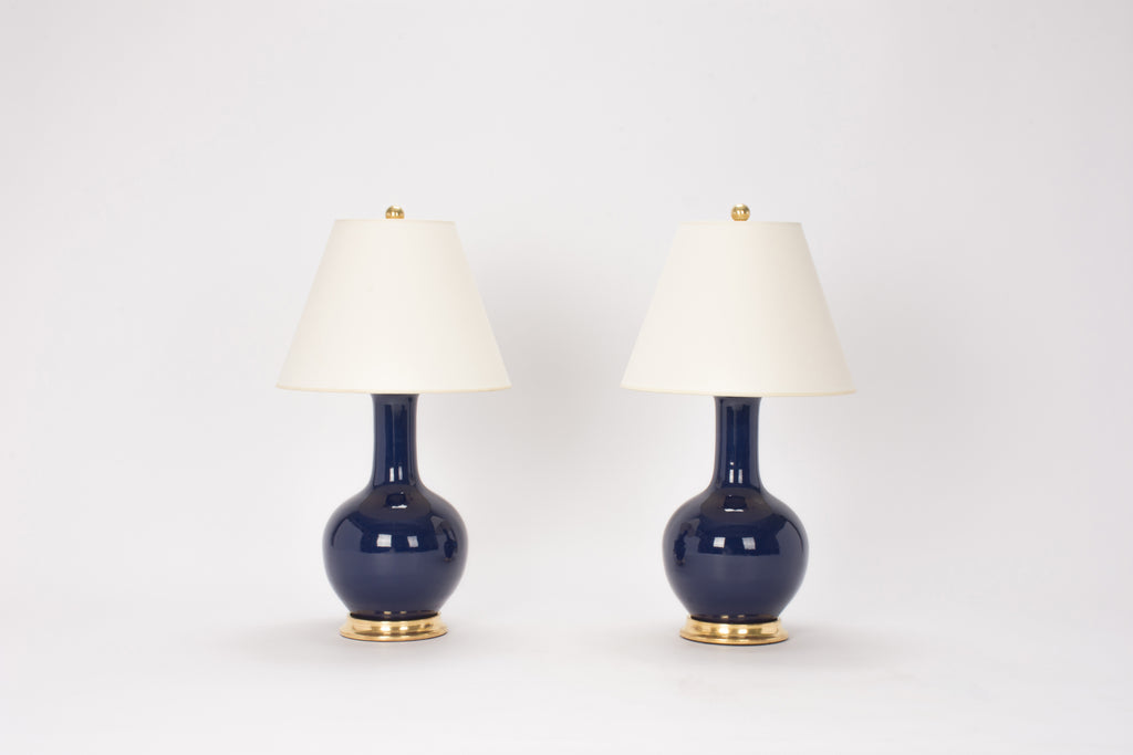 Pair of Small Single Gourd Lamps in Indigo