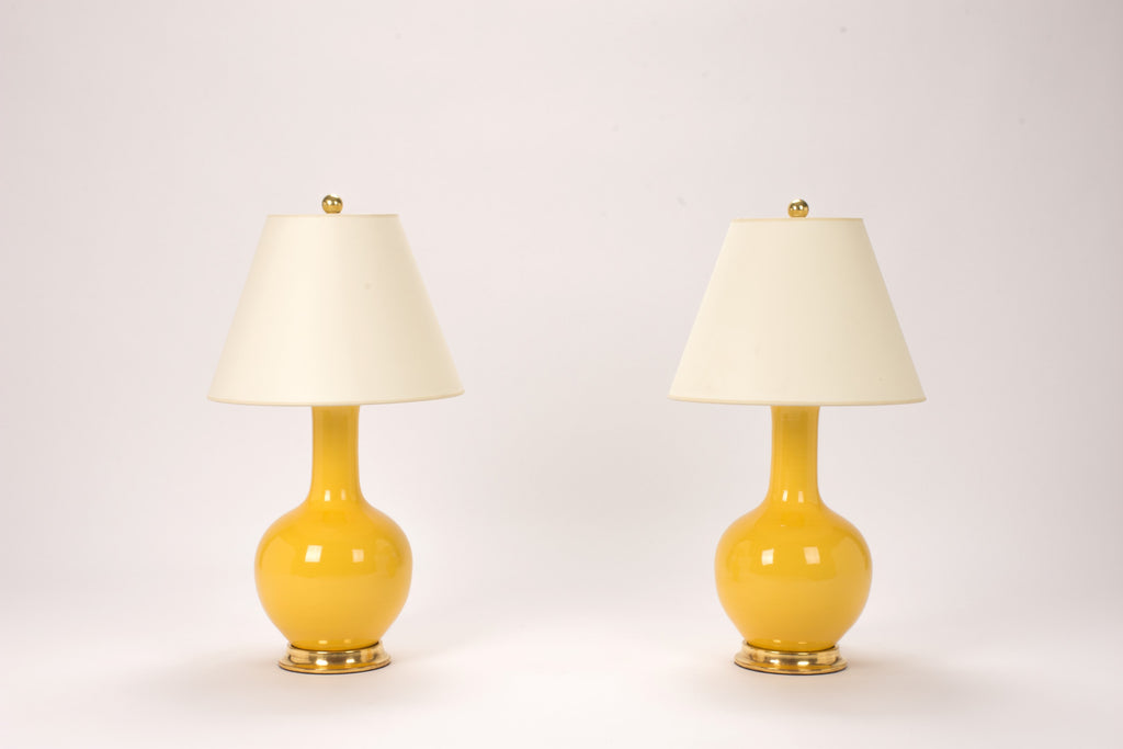 Pair of Small Single Gourd Lamps in Marigold