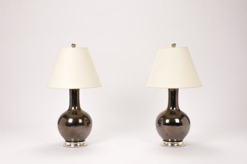 Pair of Small Single Gourd Lamps in Pewter