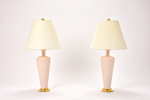 Pair of Small Vase Lamps in Blush Pink