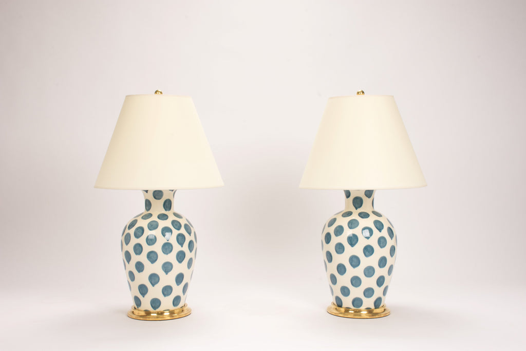 Pair of Soft Shoulder Lamps in Peacock Polka Dots