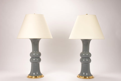 Pair of Sophie Lamps in Blue Grey
