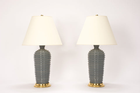 Pair of Spiral Lamps in Blue Grey