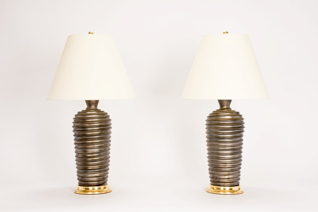 Pair of Spiral Lamps in Matte Bronze