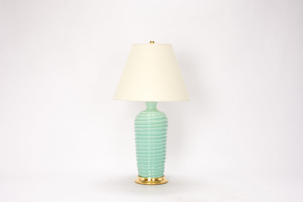 Single Spiral Lamp in Pale Blue Green